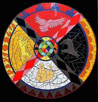 rueda de medicina en mosaico